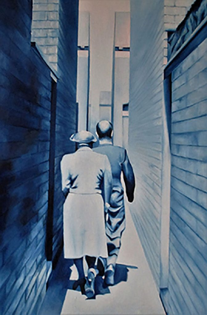 Oil painting of a couple walking down a narrow passage – in blue