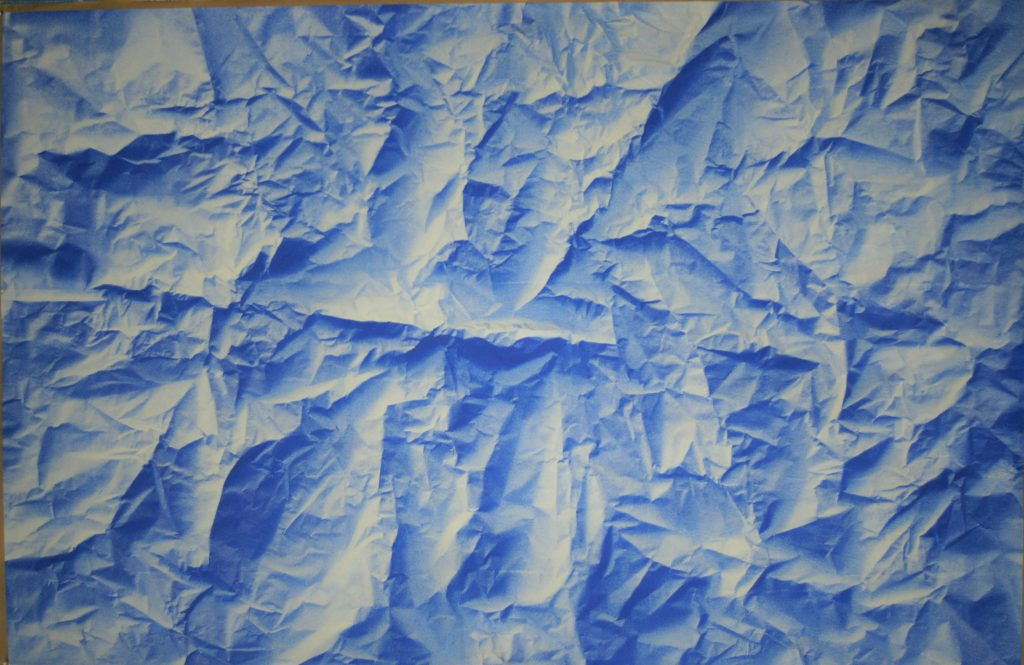 Acrylic painting of crumped paper – in blue