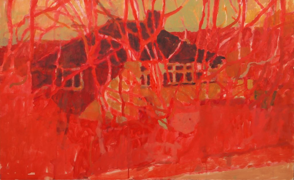 Oil painting of a residential street – in red