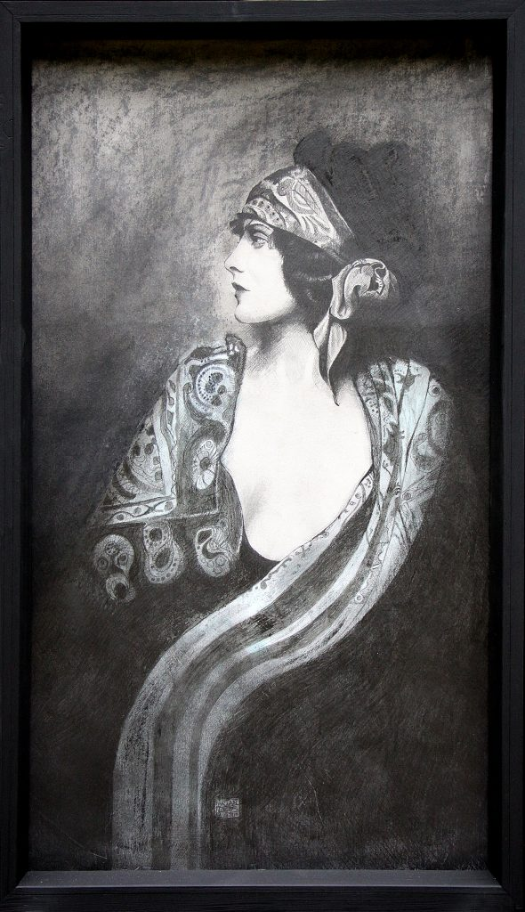 Pencil drawing of a woman looking left, draping in a patterned scarf