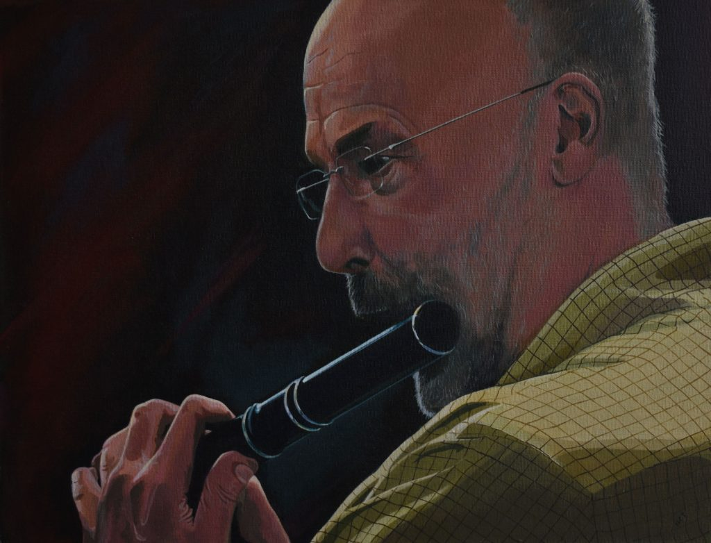 Acrylic painting of a man playing the flute