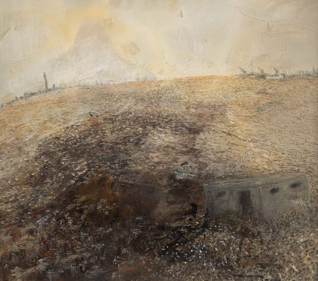 A mixed media work of the Humber estuary, dappled with warm light