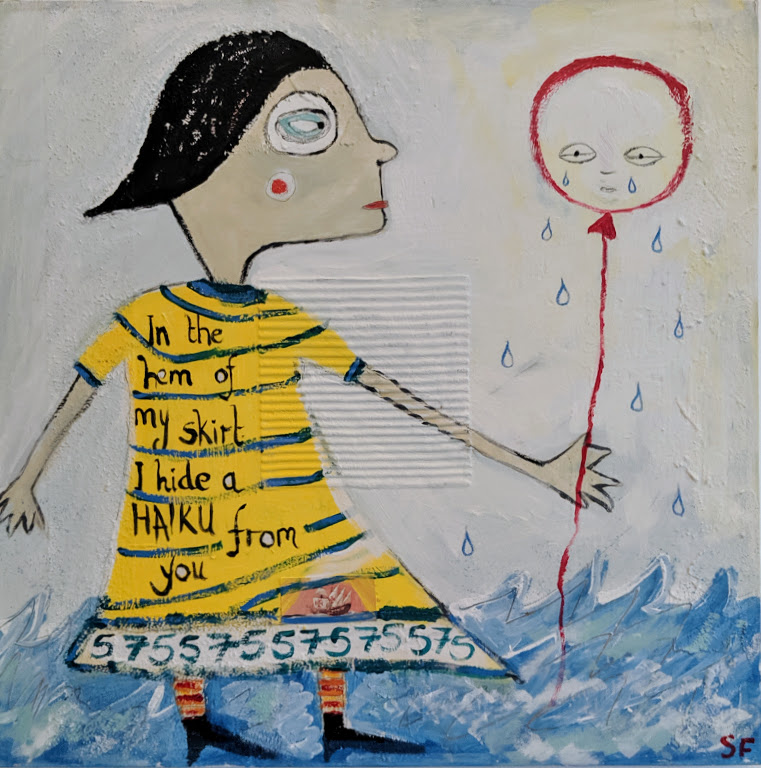 Acrylic painting of an abstract figure in a striped yellow dress, holding a sad balloon