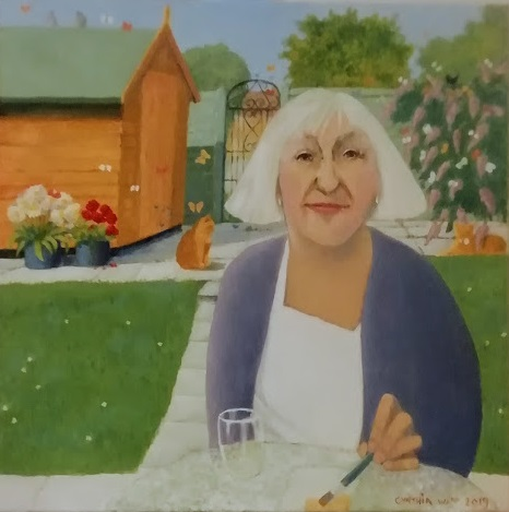 Oil painting of a woman sat in a garden