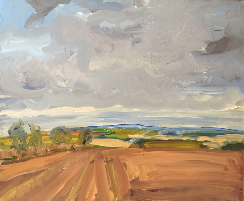 Oil painting of a cloudy landscape of fields