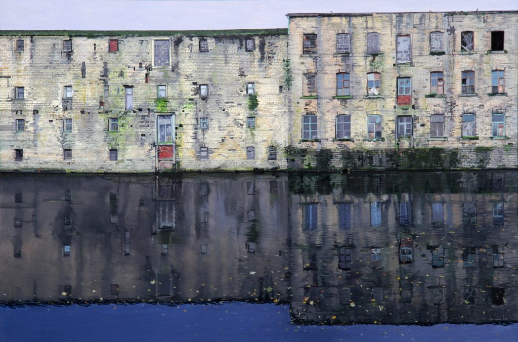 Oil painting of disused mill building, viewed across the canal