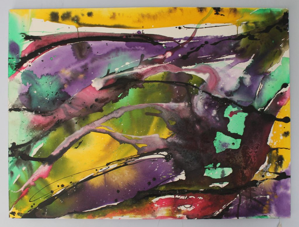 Abstract mixed media in bright colours