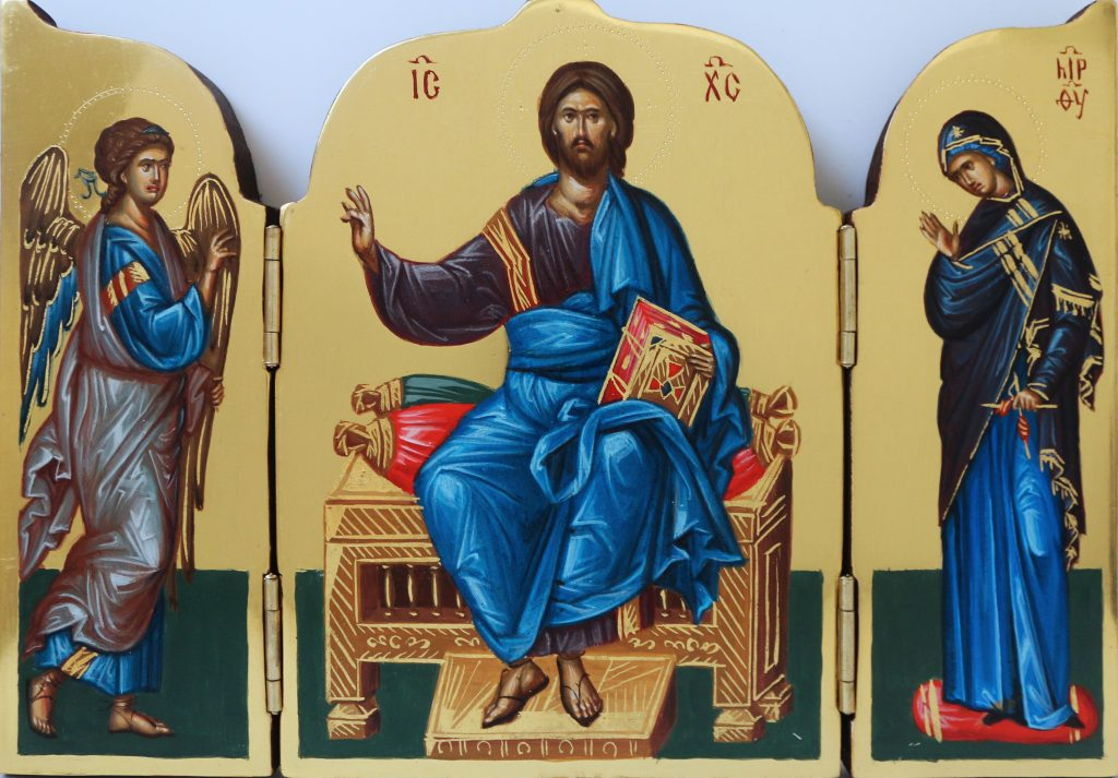Mixed media triptych of a religious scene, on gold background