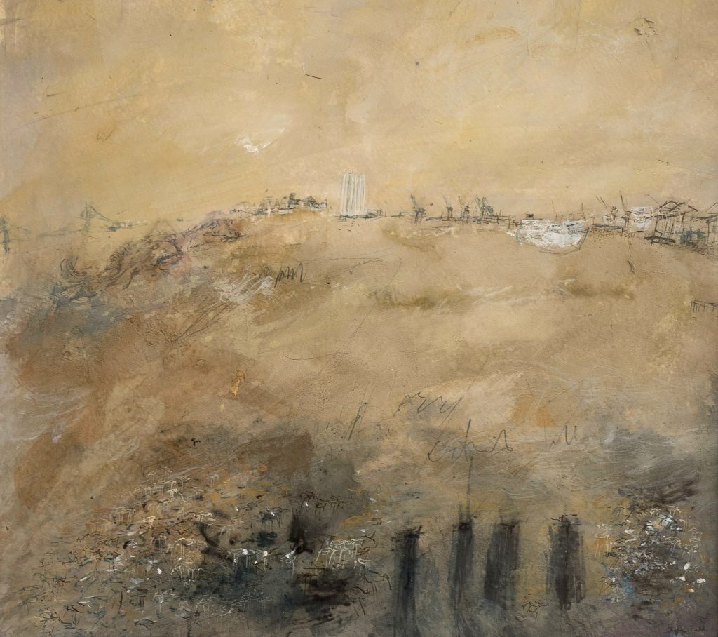 Mixed media work of the Humber estuary, in neutral tones