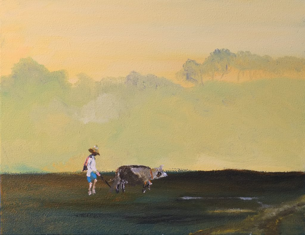 Acrylic painting of a figure ploughing a field with an Ox