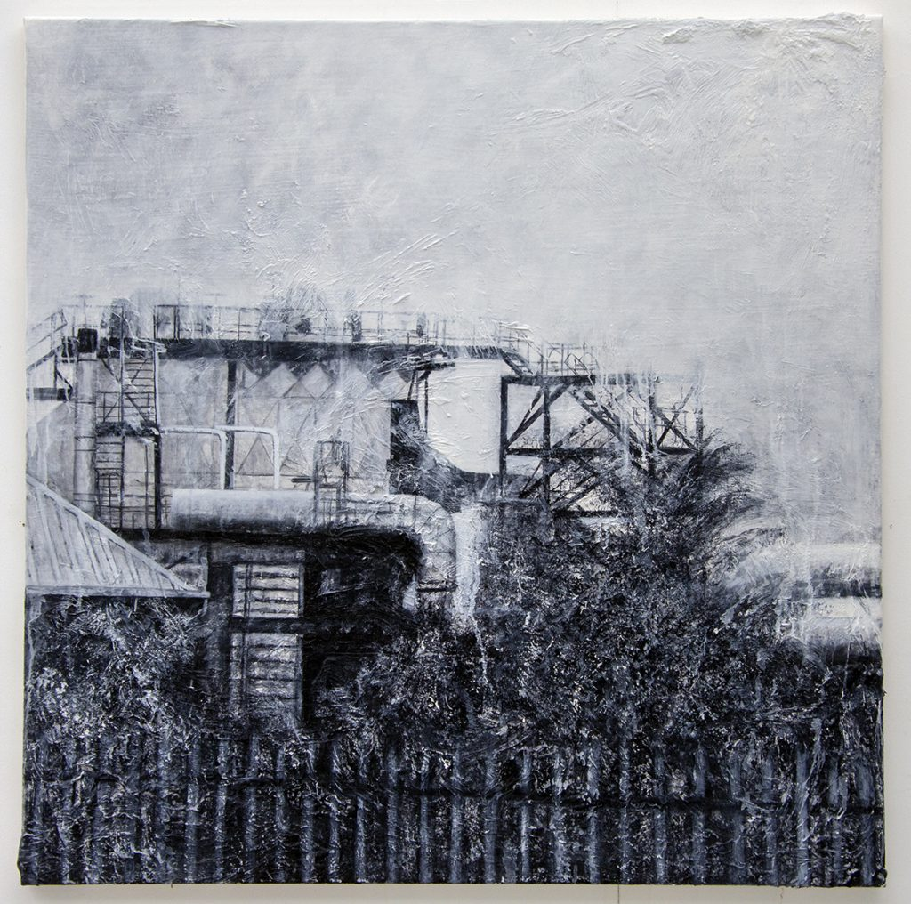 Oil painting of an industrial landscape – monochrome