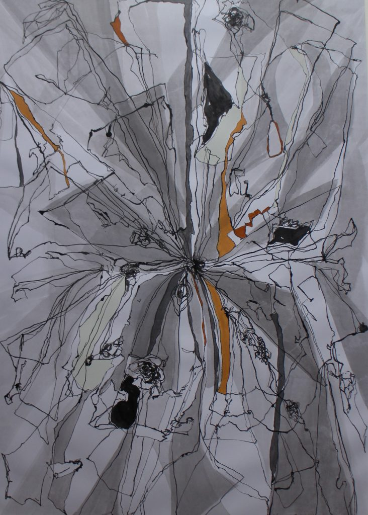 Abstract mixed media work in grey, with gold detail
