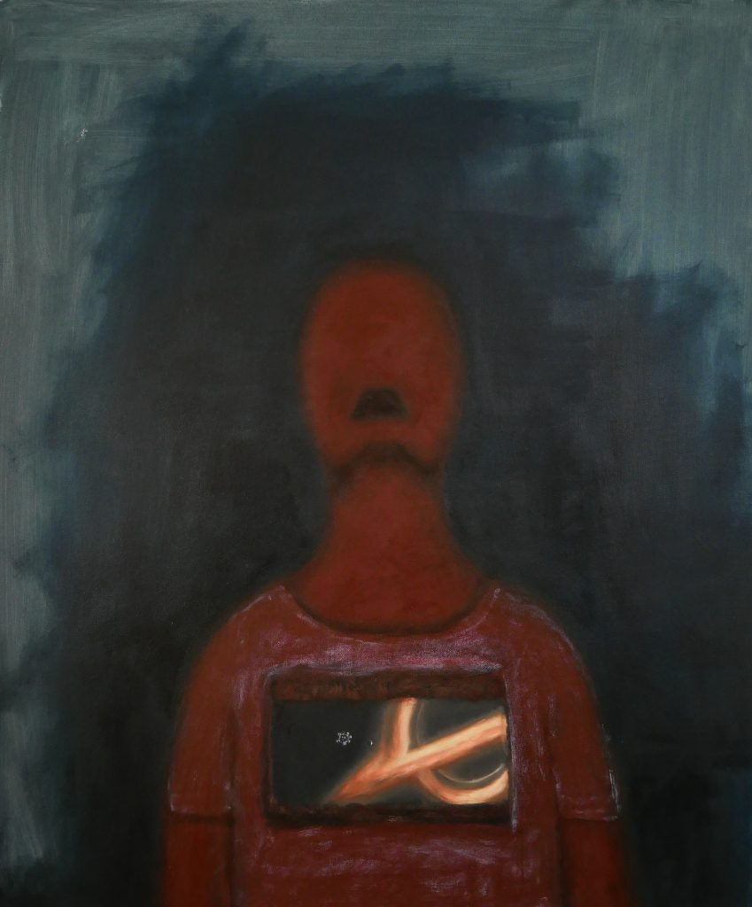 Oil painting of an abstract figure looking up