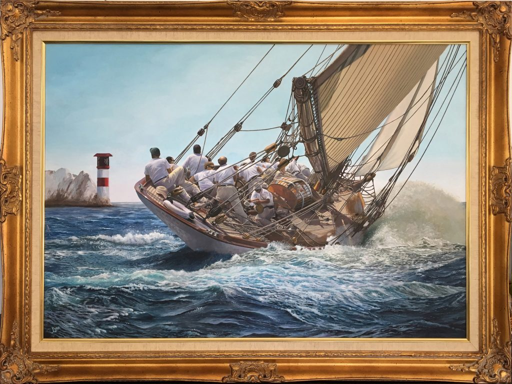 Oil painting of a ship at sea
