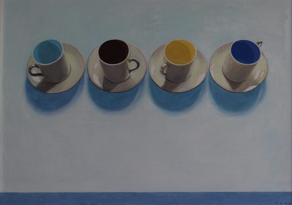 Oil painting of four coffee cups and saucers