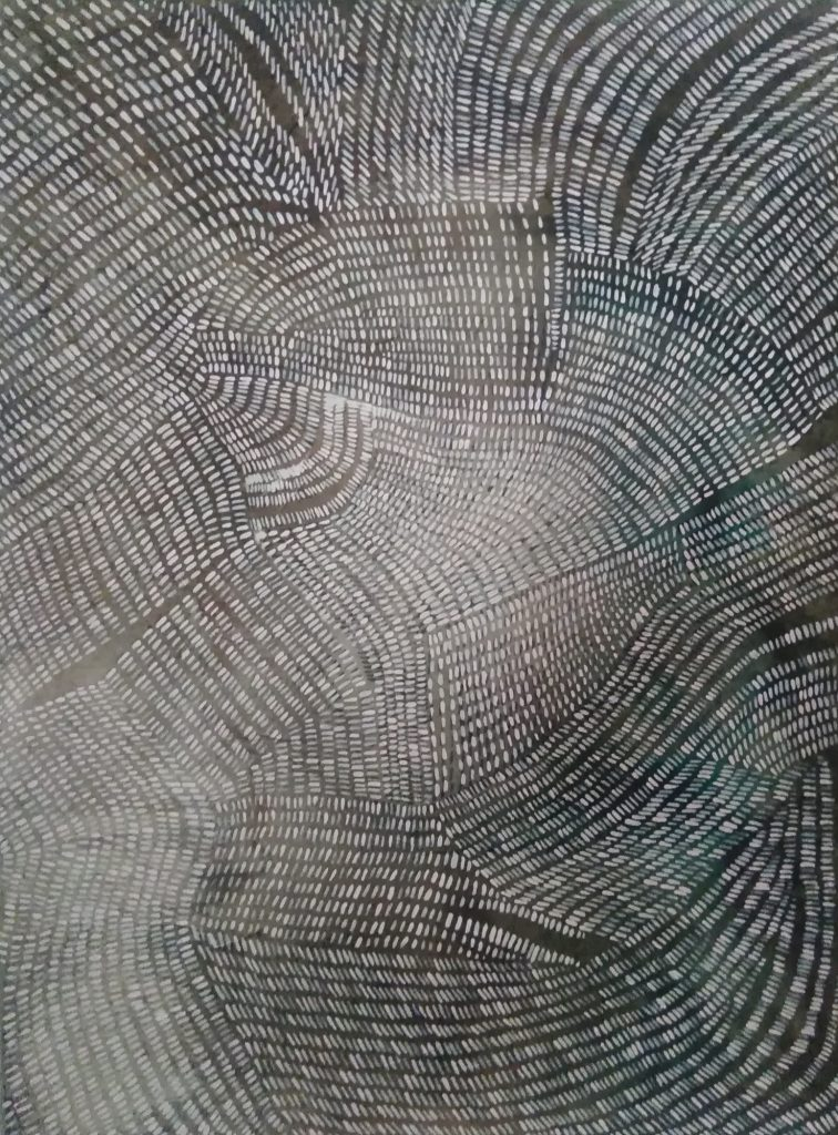 Acrylic painting of abstract, fluctuating lines
