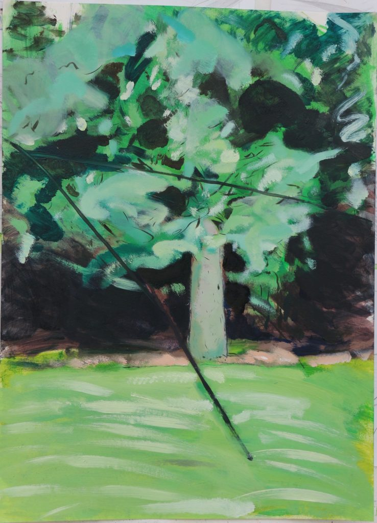 Oil painting a green tree in a landscape