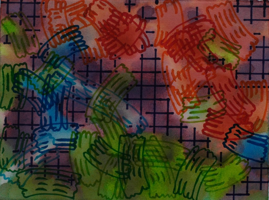 Mixed media work of colourful, abstract shapes