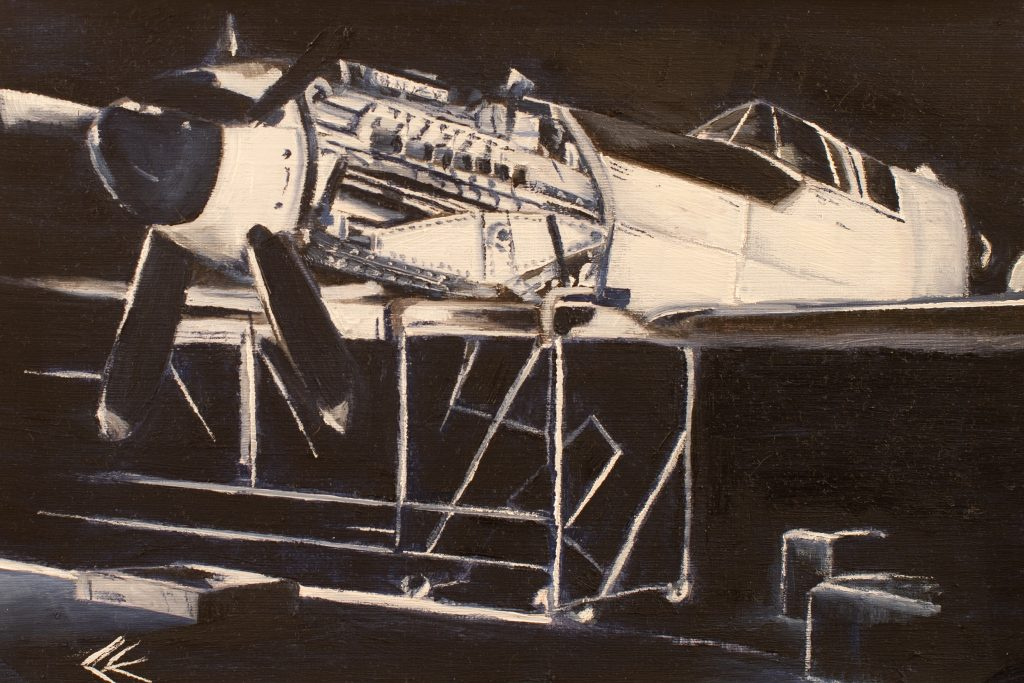 An oil painting of a spitfire in monochrome