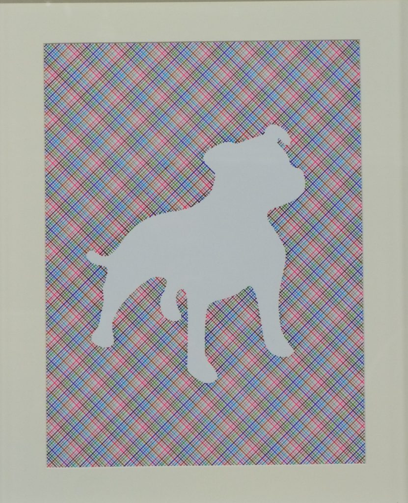 Pen and ink drawing of a dog shape within colourful cross-hatch background