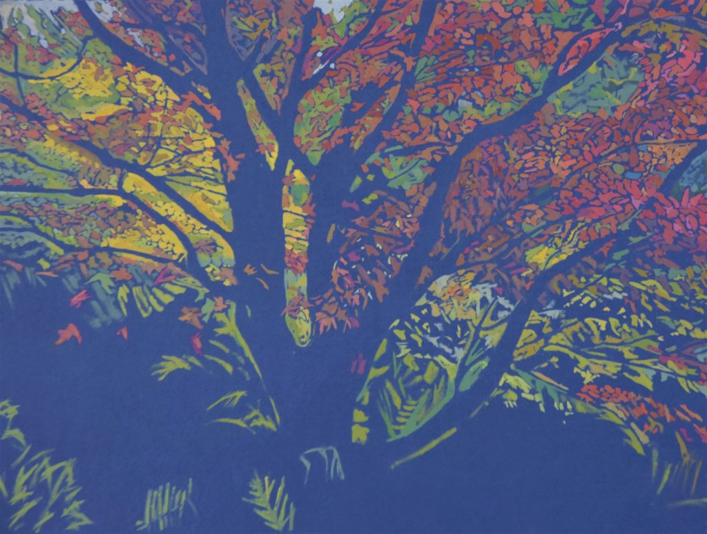 An oil painting of a colourful tree