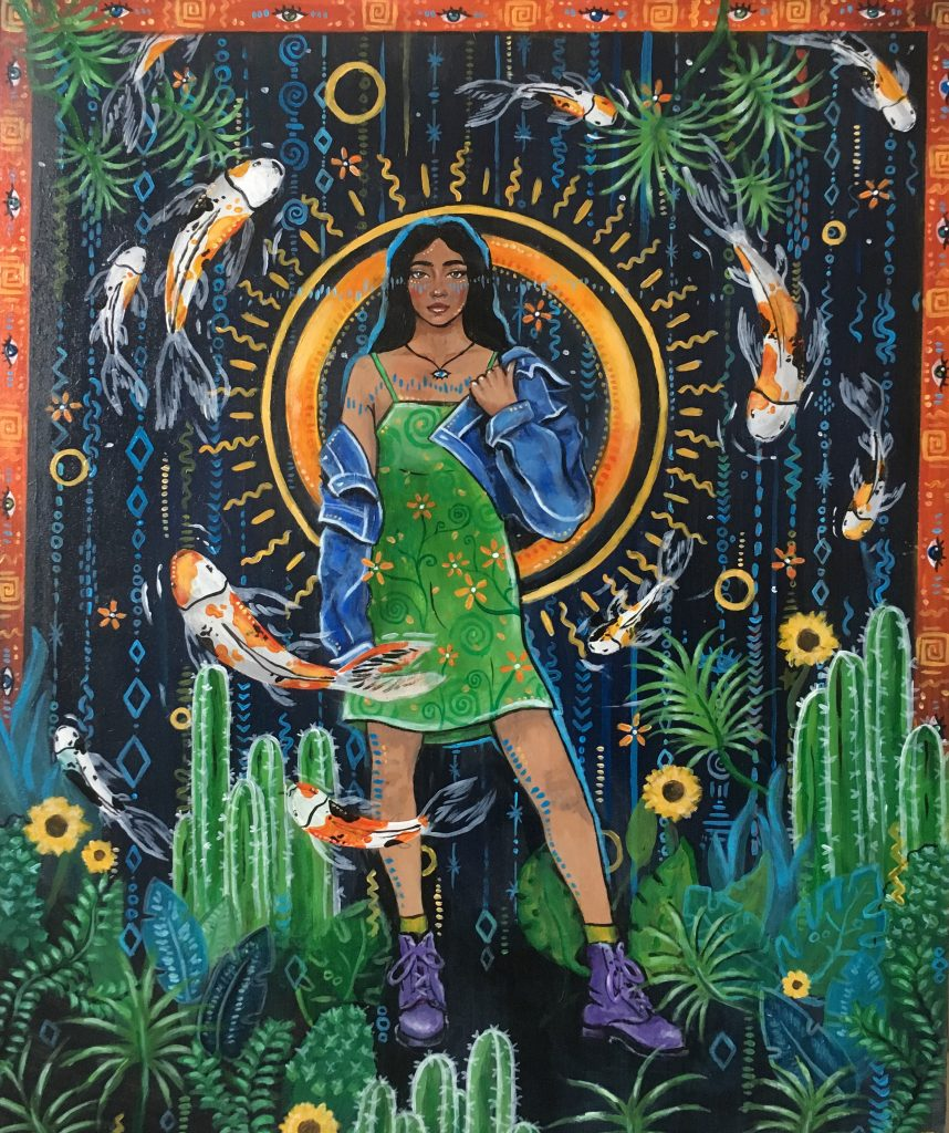 Acrylic painting of a woman stood amongst plants and fish