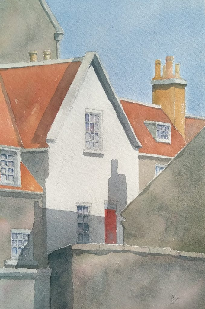 Watercolour painting of houses in Robin Hood's Bay