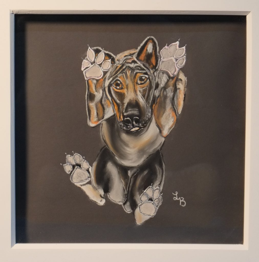 Pastel work of a dog as viewed from below