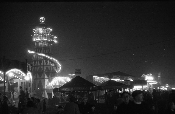 Black and white photograph of a helter skelter