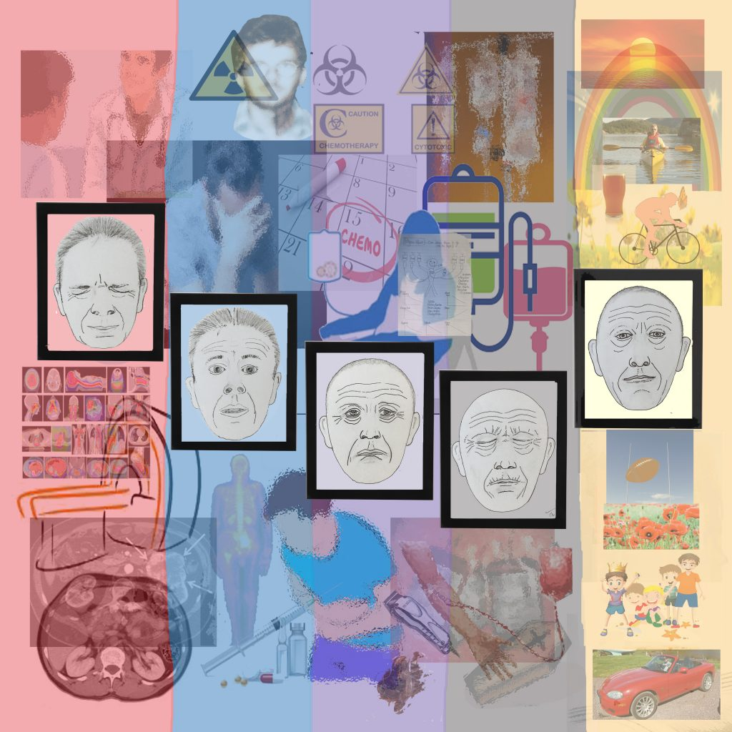 Digital print depicting images relating to the artist's experience of cancer