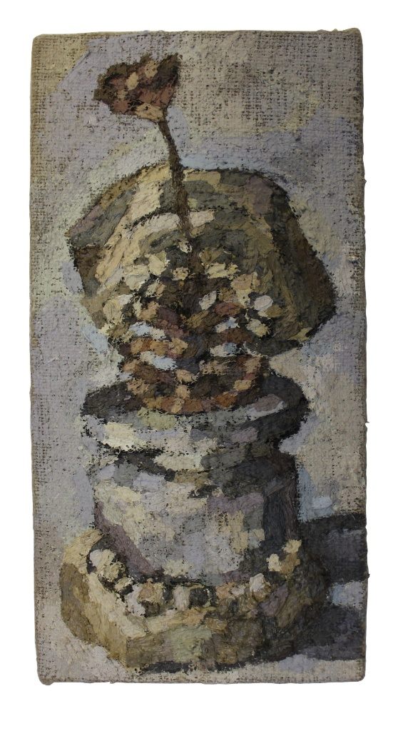 Oil painting of a still life, in muted colour