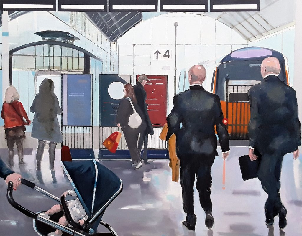 Oil painting people on the platform of Hull Station