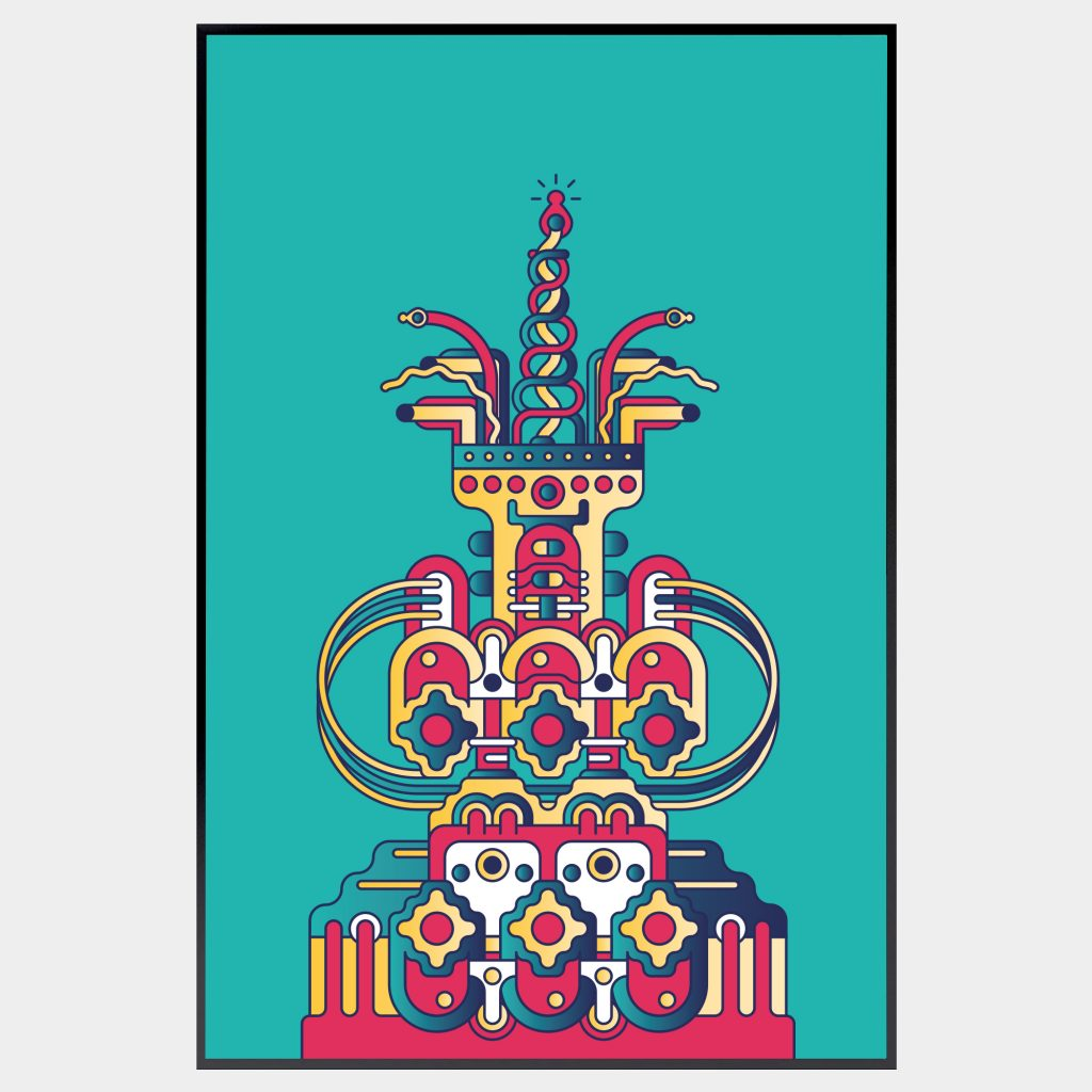 A digital print of an intricate and colourful shrine