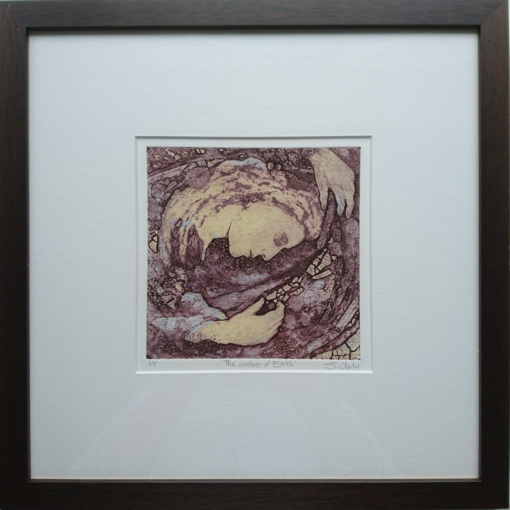 Collagraph print of a woman laying down