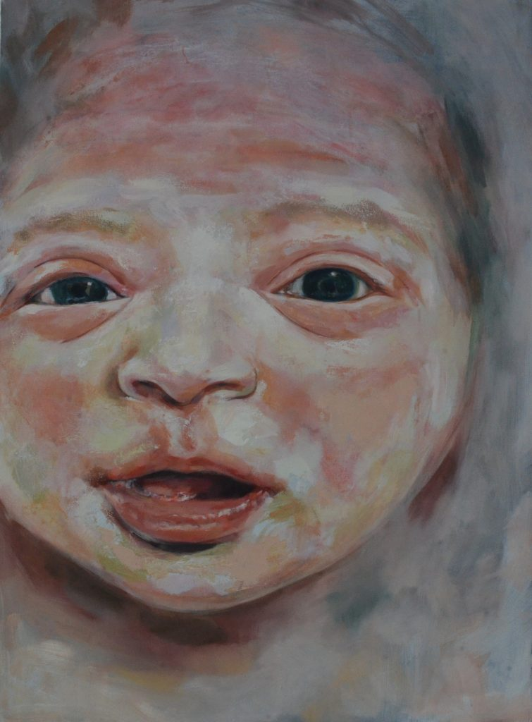 Oil painting of a newborn baby
