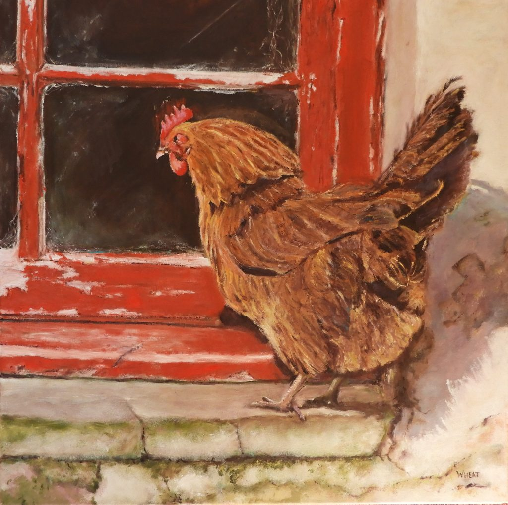 Oil painting of a brown chicken by a red door