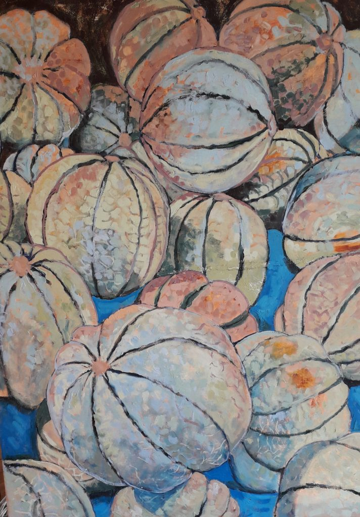 Oil painting of melons