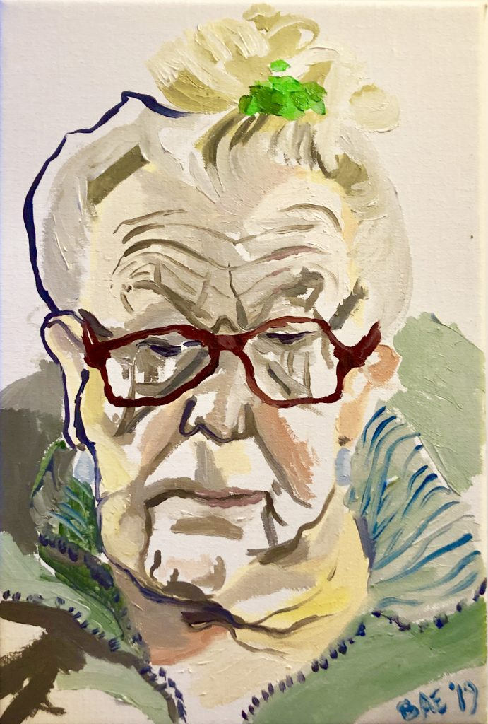 Oil painting of an older woman with glasses