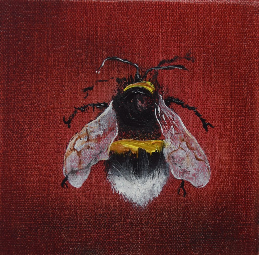Oil painting of a bee on a red background – from above