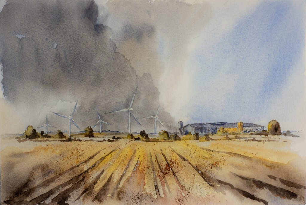 Watercolour of a field with wind turbines in the distance