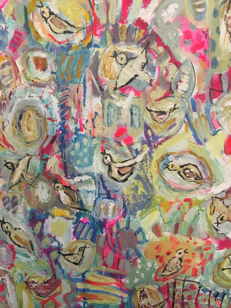 Brightly coloured abstract oil painting with birds