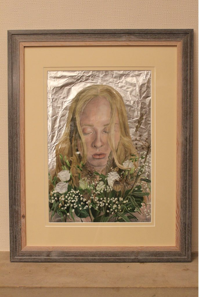 Oil painting of a woman holding flowers, on foil