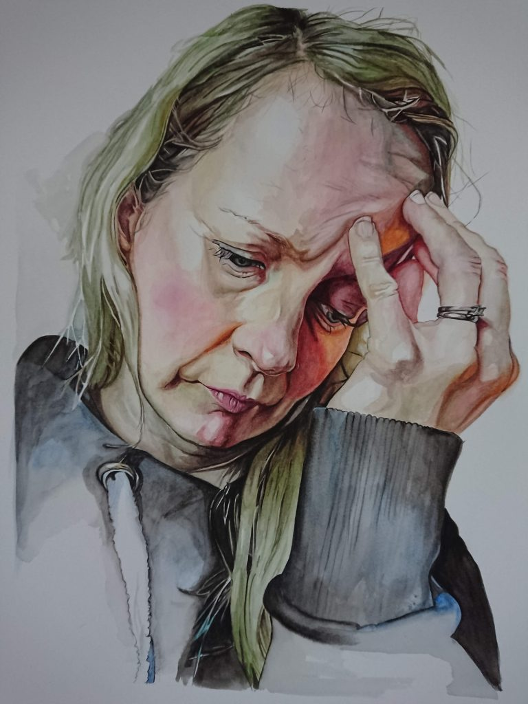 Watercolour painting of a woman looking down, hand to her head
