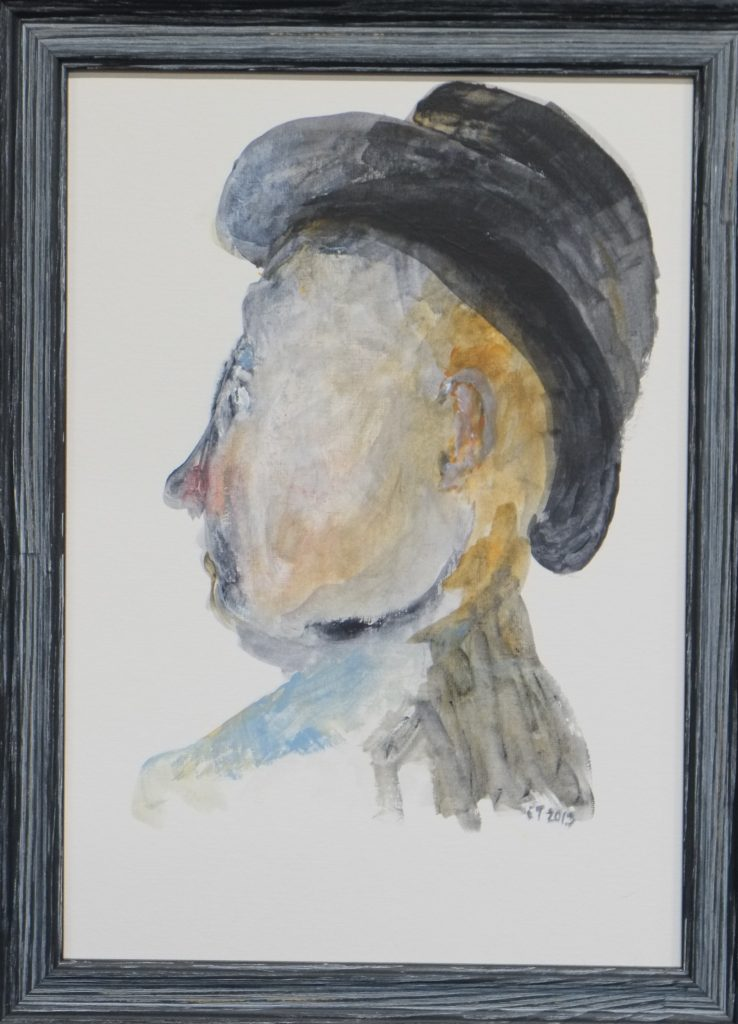 Acrylic painting of a man in profile, wearing a hat