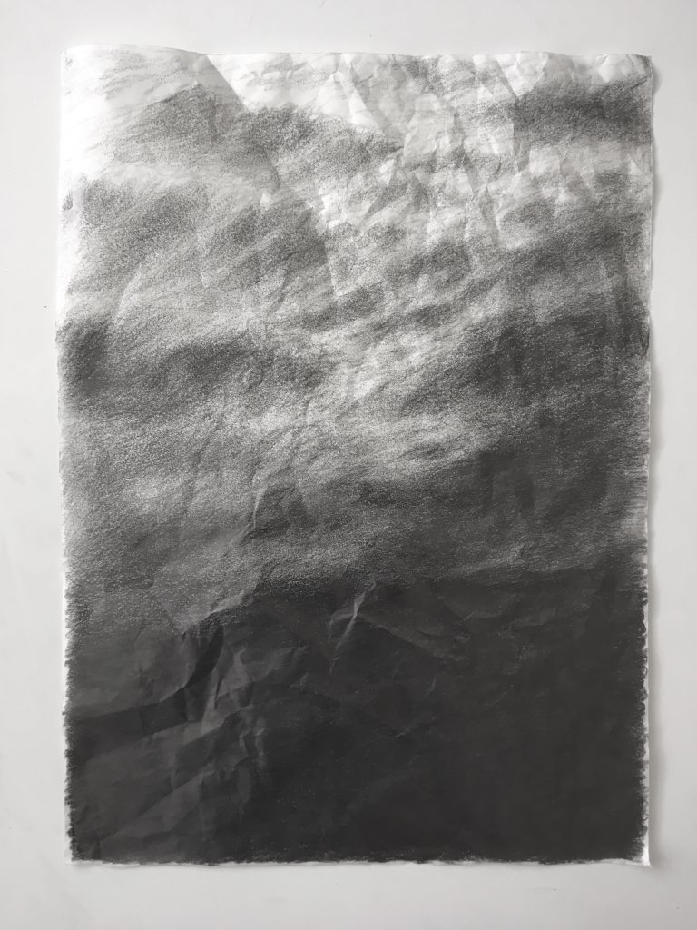Gradient pencil drawing of an abstract landscape