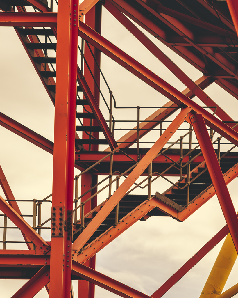Digital print of a red metal structure