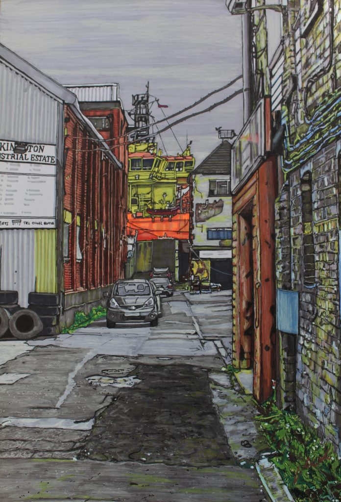 Pen and ink drawing of a yard with businesses and cars