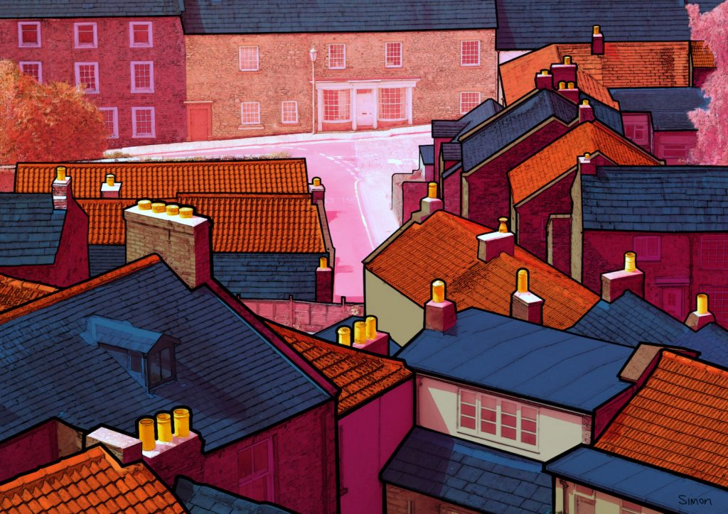 Digital print of rooftops and houses – in bright colours