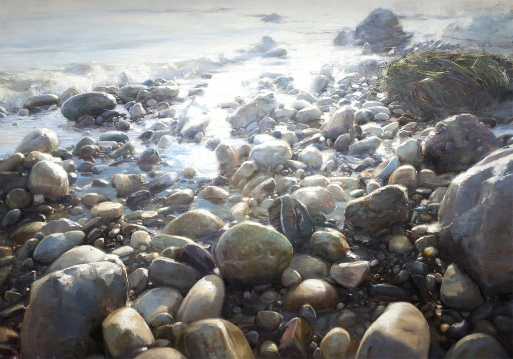 Oil painting of rocks at the sea edge, in iridescent light