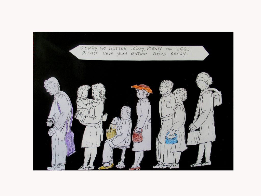 Pen and ink work of a queue of people waiting to collect their rations